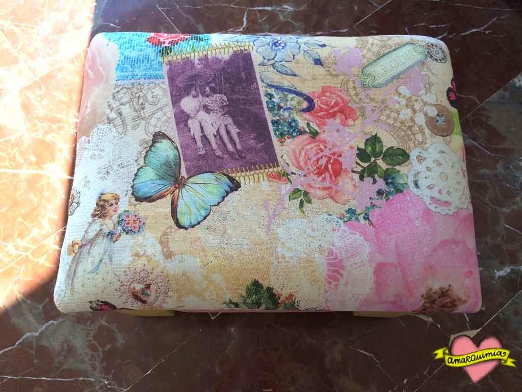 asiento tela romántica asiento banquito reciclaje cartagena