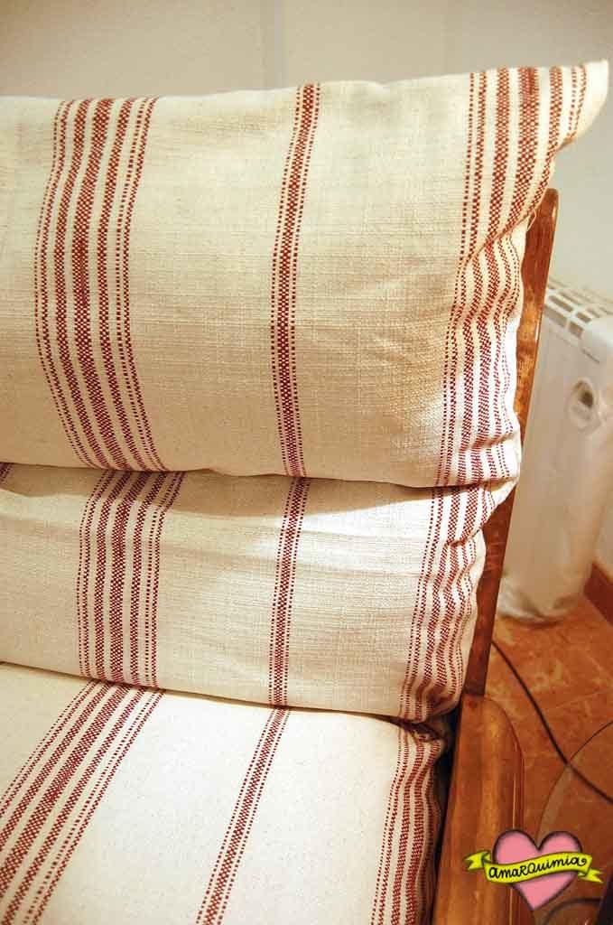 tapicería sillón rústico reciclaje