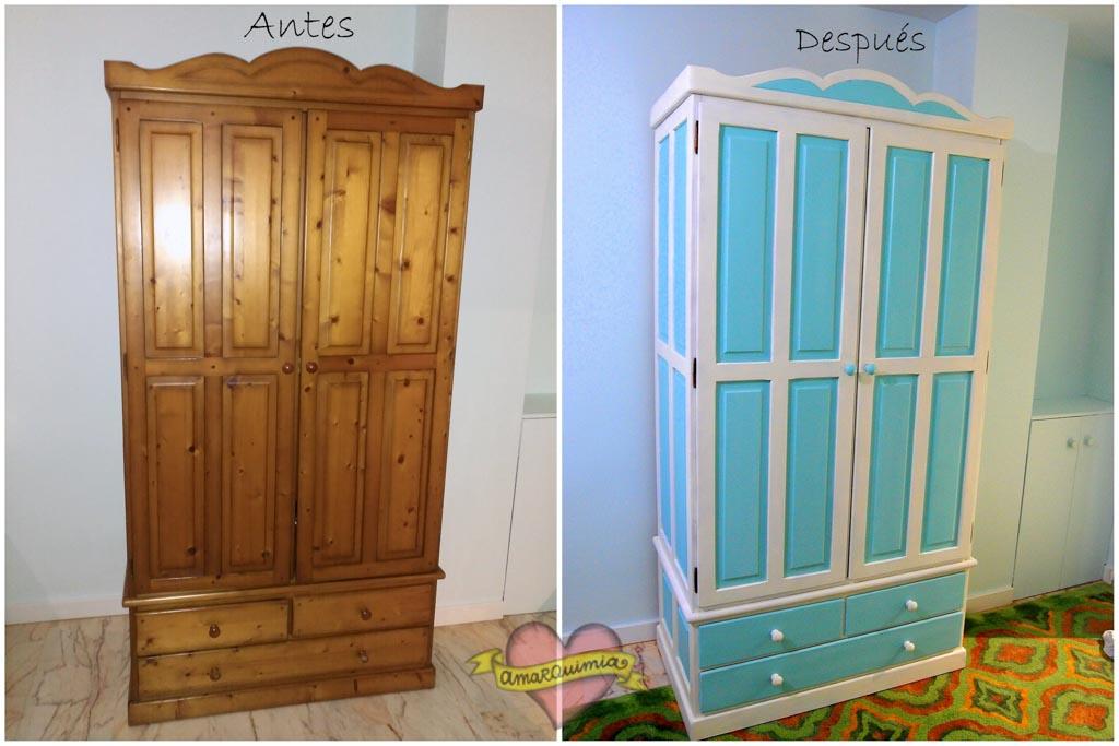 antes y después transformación armario de madera Murcia Cartagena Alicante
