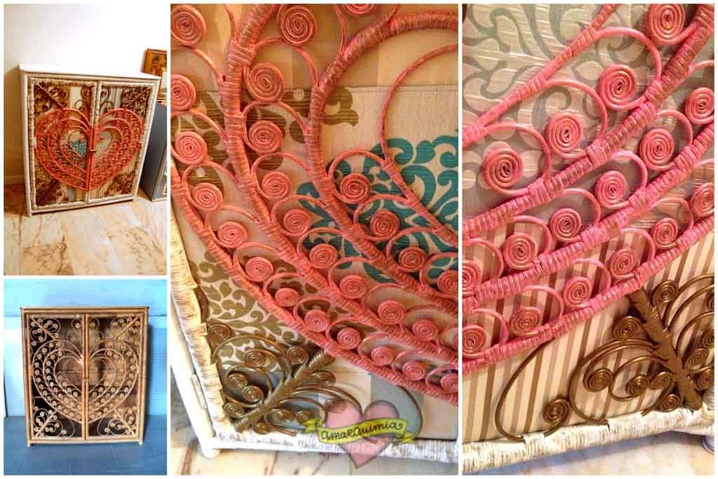antes y después transformación, pintura y tapicería armario de caña Murcia Alicante Cartagena