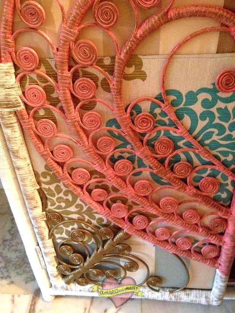 detalle puerta armario de mimbre restaurado, transformado y tapizado Murcia cartagena Alicante