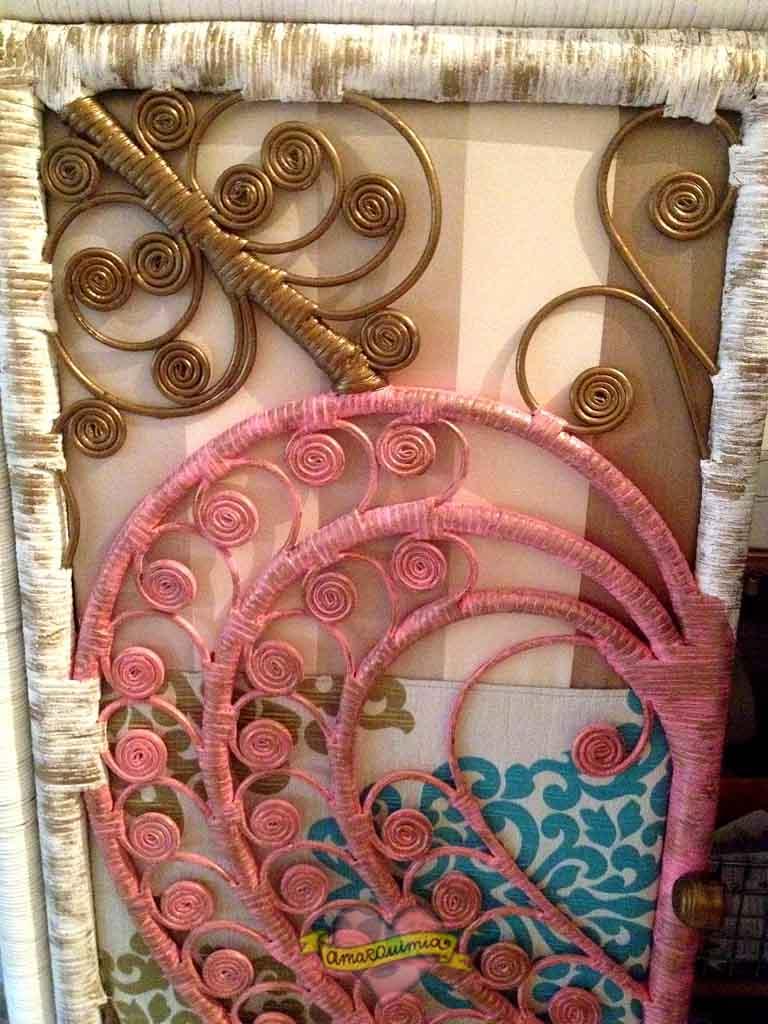 detalle puerta de mimbre armario restaurado, tuneado y tapizado Murcia cartagena Alicante