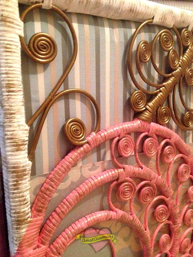 detalle telas puertas armario de mimbre restaurado y tapizado Murcia Alicante Cartagena