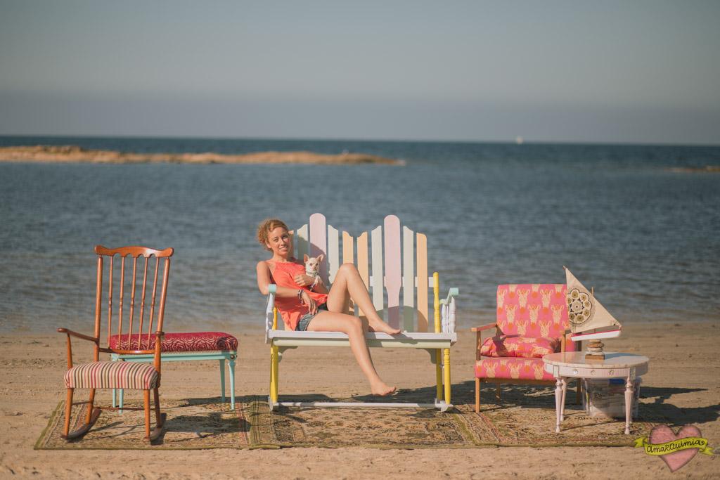 fotos muebles y clientes en la playa