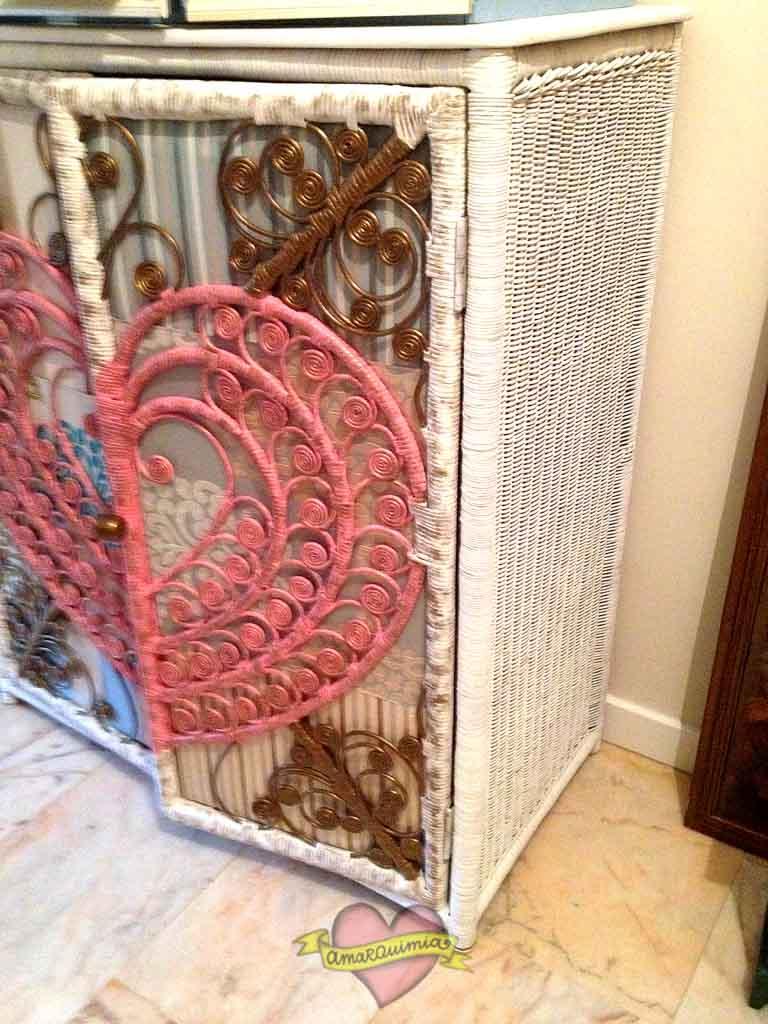 lateral mueble de mimbre restaurado y personalizado Murcia cartagena Alicante