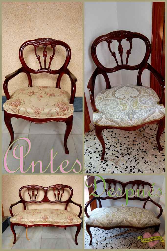 antes y después tapicería sillón y sofá antiguo