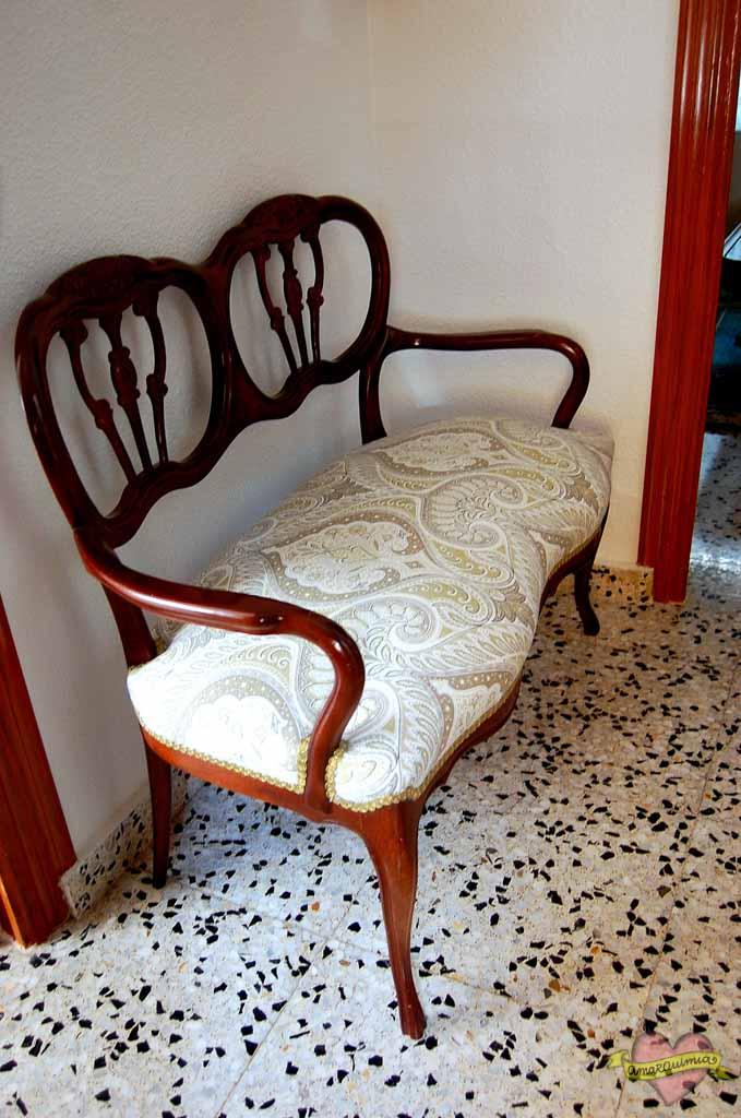 sofá antiguo tapicería y asesoramiento telas decoración