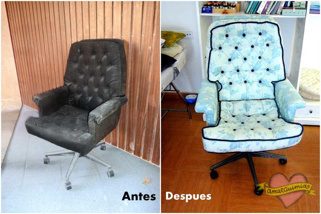 antes y después restyle diseño y tapicería sillón despacho