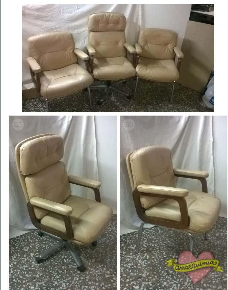 conjunto sillón de despacho piel recuperado