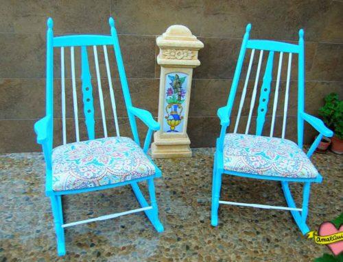 Transformación completa pareja de mecedoras años 60: restauración, diseño, pintado y tapizado