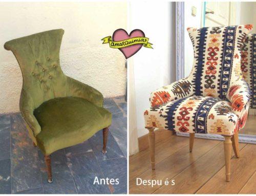 Restauración, diseño y tapicería con tela étnica para descalzadora antigua
