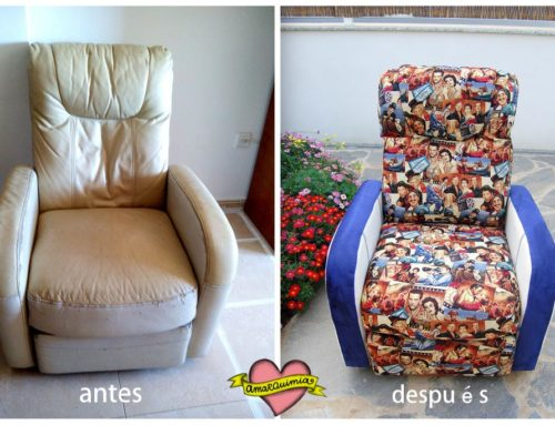 Personalización y tapicería sillón relax con tela de películas
