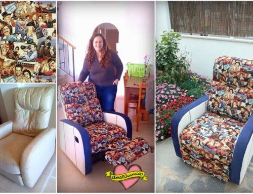 Tu hogar a tu manera: personalización y retapizado sillón relax con tela de pelis para Ana y Ginés