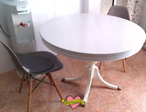 Desinsectación, restauración y pintado mesa redonda para la cocina