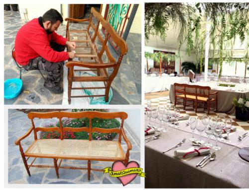 Delicada artesanía para una boda de ensueño: restauración de un banco antiguo de ratán tejido.